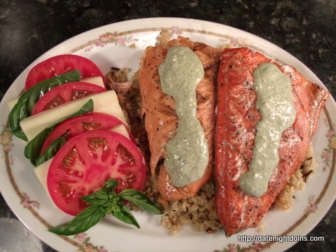 Grilled Salmon with Pesto Cream - Date Night Doins BBQ For Two
