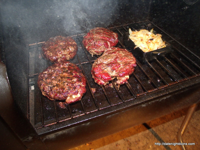 Double Stacked Stuffed Burgers Date Night Doins Bbq For Two