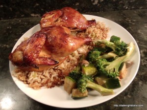 Teriyaki Game Hens on Tropical Rice