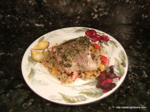 Crab Stuffed Catfish Pesto Glaze