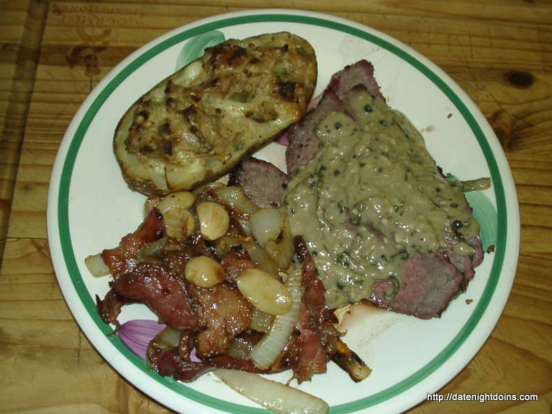 London Broil with Creamy Peppercorn Sauce pellet grill recipe BBQ smoker