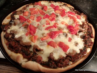 Double Sausage Deep Dish Pizza pellet grill back yardrecipe