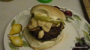 Onion Bacon Burger Chipotle Cheese Topping