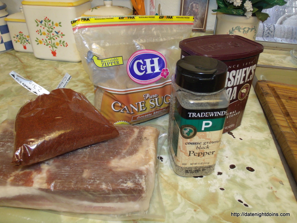 our ingredients cut the bacon in half chocolate chipotle bacon candy a