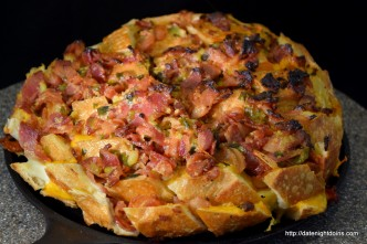 Bacon Cheese Garlic Bread, wood pellet grill, BBQ, Smoker, recipe