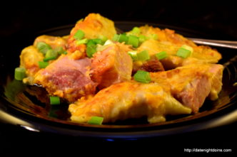Smoked Cheese Ham Pierogi Bake, wood pellet, grill, BBQ, smoker, recipe