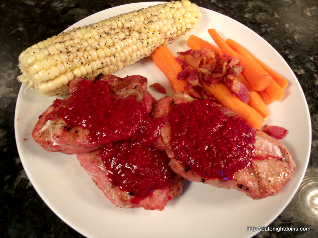 Pork Chops with Fresh Raspberry Sauce - Date Night Doins BBQ For Two